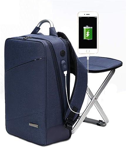 HYRL Business Rucksack Doppel-Schultertasche Bag eingebauter Stuhl, Fashion Trend Bag Größe Kapazit 15,6 Freizeitcomputer Bag,Blau