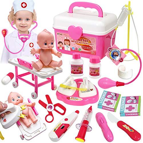 Buyger Arztkoffer Kinder Spielzeug Arztkittel Kostüm Doktorkoffer Spiele ab 3 4 Jahren Mädchen Spielzeug (Rosa)