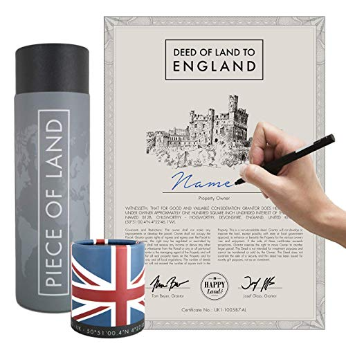 Piece of Land - Unique Gift from England (UK) - Sustainable Gift for Family and Friends – Personalized British Land Owner's Certificate for Women and Men from Great Britain, London