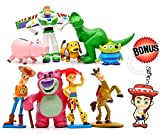 PANTYSHA Toy Story Cake Toppers – Cartoon Action Figures – Pack of 9 Premium Toy Story Party Figurines – Birthday Party Supplies for Kids & Grownups + Jessie Keychain – Toy Story Party Favors