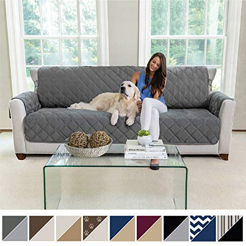 MIGHTY MONKEY Premium Reversible X-Large Oversized Sofa Protector for Seat Width up to 78 Inch, Furniture Slipcover, 2 Inch Strap, Couch Slip Cover Throw for Pets, Cats, Sofa, Charcoal Light Gray