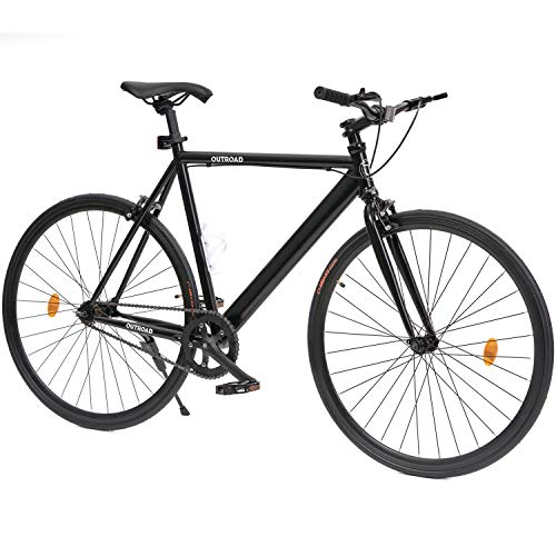 Max4out Single Speed Bicycles Urban Fixie Road Bike 700cc Track Bicycle, Black