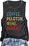 Coffee Peloton Wine Repeat Muscle Tank Tops Women Vintage Graphic Drink Vest Funny Letter Print Sleeveless Shirts (Grey, XL)