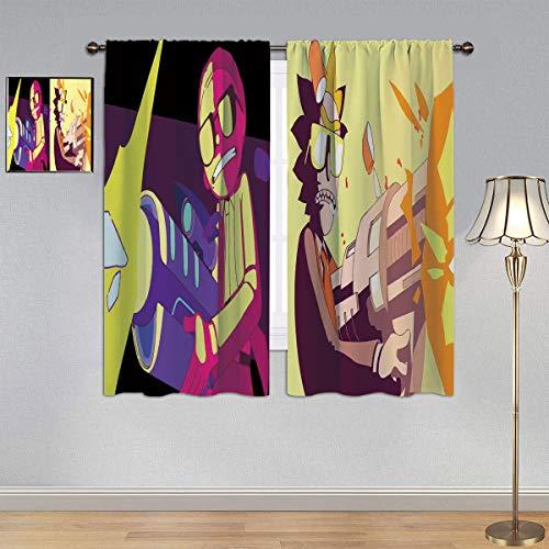 ARYAGO Cortinas con aislamiento térmico impreso Rick and Morty, cortinas Run the Jewels con bolsillo para barra para dormitorio/sala de estar 2014 x 2014 cm