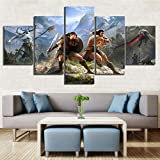 SWXXLY 5 Piece Games Art Print Conan Exiles Poster HD Wall Picture Canvas Paintings Fantasy Home Decoration Wall Artworks CuadrosFramed20x35cm20x45cm20x55cm