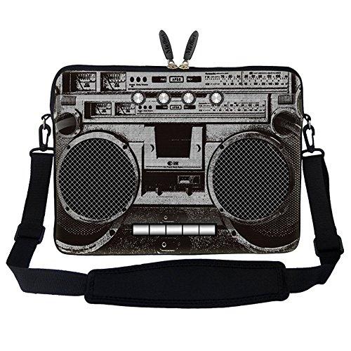 Meffort Inc 17 17.3 inch Neoprene Laptop Sleeve Bag Carrying Case with Hidden Handle and Adjustable Shoulder Strap - Cassette Player