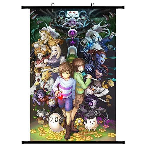 ALTcompluser Anime Spiel Rollbild Wallscroll Wandbanner Dekorative Wandbild Stoff Poster(30 * 45 cm Undertale)