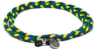 HOOK - Cordón Cuelga Gafas Para Hombre o Mujer - Cordón Para Gafas de Sol o De Ver - Cordón de Algodón Trenzado Verde Amarillo y Azul - 60 cm largo 1 cm ancho - Gomas Universales - Tapir