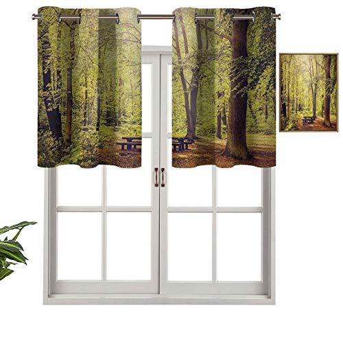 Hiiiman Cortina opaca con ojales en la parte superior, mesa de picnic en el bosque, follaje verde, temática de verano e invierno, juego de 1, 127 x 45 cm, tratamiento de ventana para sala de estar