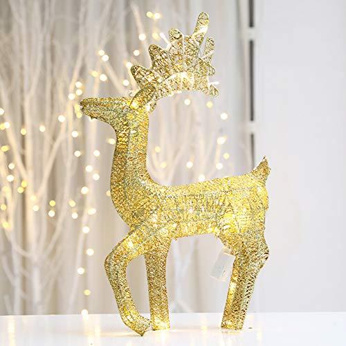 YANXS Navidad Metal Marco LED Luminoso Reno con Lentejuela Brillante Blanco Cálido Tejeduría Alambre de Hierro Light Decoration para Interiores y Exteriores,03