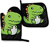 YANGXIN Cute Kawaii Baby Trex Kitchen Oven Mitt Pot Holder Set, Heat Resistance Non-Slip Gloves Holders for BBQ Cooking Baking Grilling Microwave