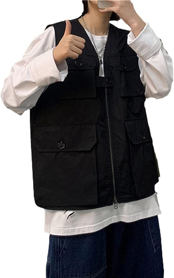 Men Multi-Pocket Sleeveless Jackets Vests Plus Size Korean Style Simple Zipper Waistcoat