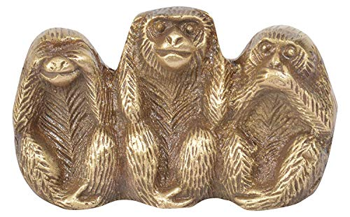 PARIJAT HANDICRAFT - Três macacos de latão - Não, não fala, estátua de animal maligno - três verdades de homem