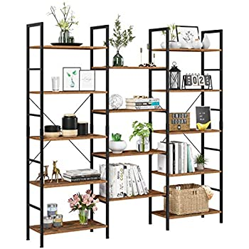 Homfa Triple Wide 5-Tier Bookcase Large Etagere Bookshelf Industrial Open Storage Display Shelves Organizer 68.5L x 11.8W x 68.1H Inches Solid Wood Book Shelf with Metal Frames for Home Office
