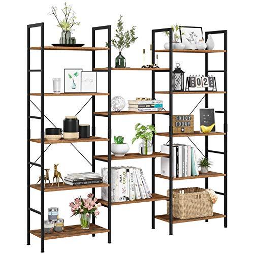 NOZE 3 Tier Industrial Bookshelf, Storage Rack Shelf for Home and Office, Rustic Bookcase, Walnut