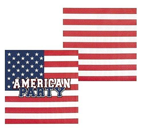 12 Servietten * American Party * für Eine USA-Mottoparty | Amerika US Motto Party BBQ Barbecue Barbeque Napkins