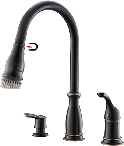 APPASO 3 Hole Kitchen Faucet with Pull Down Magnetic Docking Sprayer Oil Rubbed Bronze, 2-Hole Pull Out Kitchen Sink ...