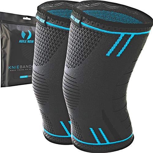 AGILE NOW Kniebandage [2er Set ] [M - XXL] Premium inkl. Ultimativer Ratgeber E-Book die Kniebandage Männer Sport & Kniebandage Damen Blau M