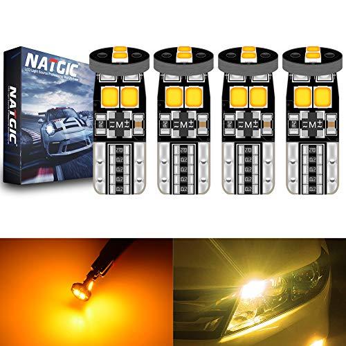 NATGIC T10 W5W 921 194 168 Ampoules LED CanBus sans Erreur 6SMD 3030 Puce pour éclairage Intérieur de Voiture Ampoules de Feux de Position Avant de Porte de Dôme - Ambre 3500K 450LM 12V (Pack de 4)