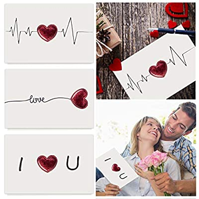 3pcs Romantic Valentine Valentines Cards for Adults, Valentines Day Gifts Cards Card, Boyfriend Gifts for Her Husband Blank Valentine Birthday Cards Card Greeting Note Cards Romantic Gifts for Him