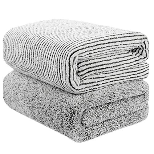 "55"" x 29"" Oversized Bath Towels Bamboo, Microfiber Shower Towel for Body, Towel Sets for Bathroom Clearance, Super Absorbent & Quick-Dry Towel Washcloths for Gym Home Hotel Office Travel (2 Pack)"
