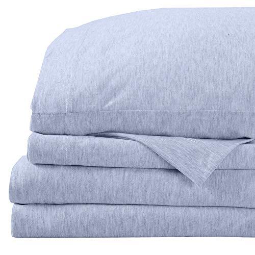 Super Soft Tech Knit Jersey Sheets. Breathable Lightweight T-Shirt Sheet Set with 16' Deep Pockets. Brie Collection (Queen, Light Blue)