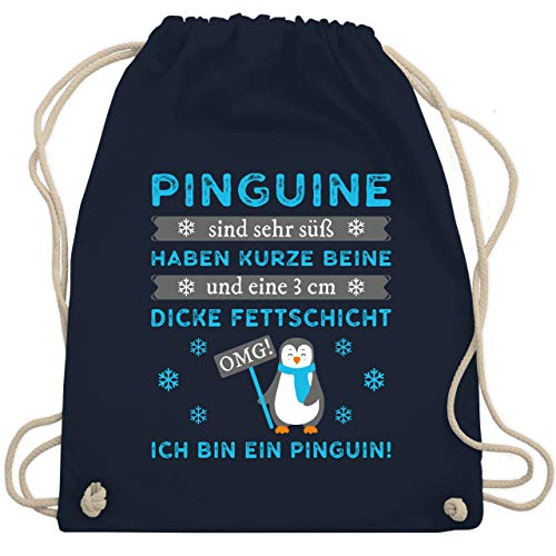 Shirtracer Sprüche Statement mit Spruch - Omg! Ich bin ein Pinguin! - Unisize - Navy Blau - turnbeutel tante - WM110 - Turnbeutel und Stoffbeutel aus Baumwolle