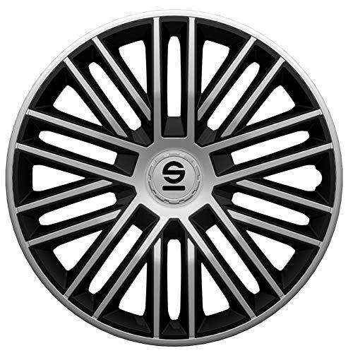Sparco SPC1685SVBK Juego de 4 Tapacubos Bergamo 16 Pulgadas Plateado/Negro