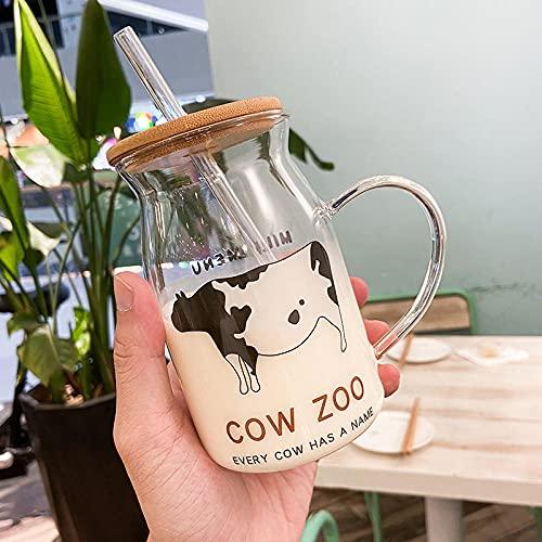 Taza de agua Smiley Okoleum Wood Cover Gafas de paja Copa creativa de gran capacidad-Una gran vaca_500ml
