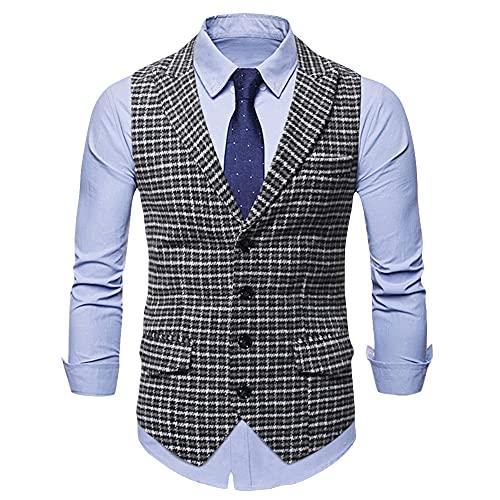 Men's Victorian Suit Vest Tweed Business Wedding Vests Dress Layered Waistcoat