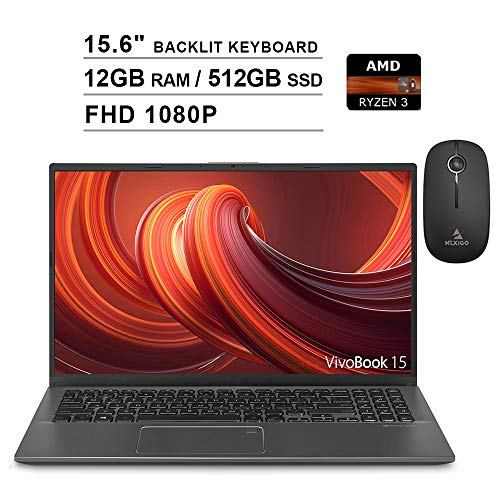 2020 ASUS VivoBook 15.6 Inch FHD 1080P Laptop  AMD Ryzen 3 3200U up to 3.5GHz  12GB DDR4 RAM  512GB SSD  AMD Radeon Vega 3  Backlit KB  FP Reader  WiFi  Windows 10 + NexiGo Wireless Mouse Bundle