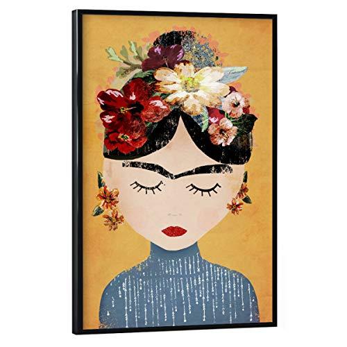 artboxONE Poster mit schwarzem Rahmen 45x30 cm Frida Kahlo Menschen Frida (Yellow Version) - Bild Frida Kahlo Yellow