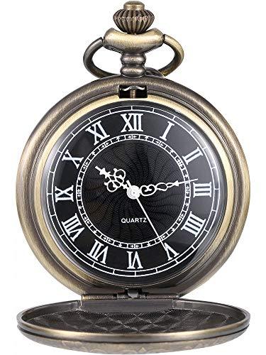 Orologio da Taschino al Quarzo per Uomo con Quadrante Nero e Catena (Bronzo)