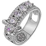 FEDULK Womens Luxury Rings Simple Retro Inlaid Rhinestone Multicolor Promise Engagement Ring Jewelry(Silver1, 10)