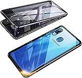 Coque pour Samsung Galaxy A20E Adsorption Magnétique Étui 360 Degrés Protection Housse, Transparente Ultra Mince Dual Verre Trempé Métal Cadre Antichoc Bumper Flip Cover Case,Noir