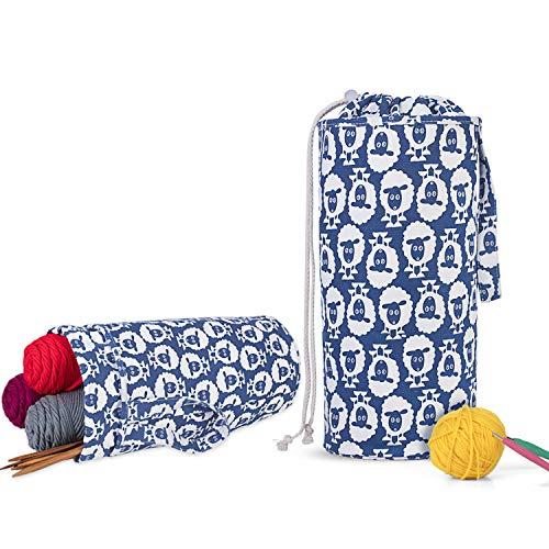 Luxja Organizador Lanas, Bolsa para Tejer, Bolsa Ganchillo Almacenamiento para Agujas de Tejer (hasta 14 Pulgadas) Bolsa para Hacer Puntos y Guardar Accesorios de Crochet