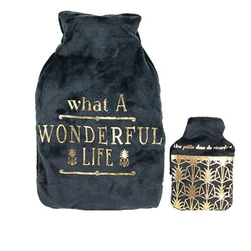 Bolsa de agua caliente con calentador de diseño Art Déco, 1 litro, color negro