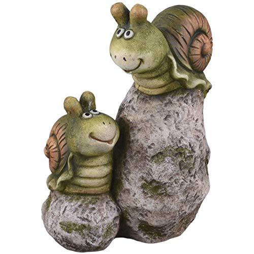 Dadeldo Home Schnecken Steine Deko-Figur Clayfibre 30x24x17cm grün-grau