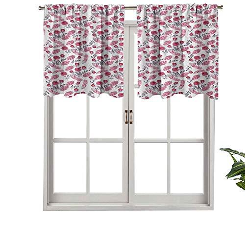 Hiiiman Cenefa de alta calidad con bolsillo para barra, diseño de rosas románticas, estilo retro, diseño de flores de verano, juego de 2, 42 x 24 pulgadas para decoración de interiores