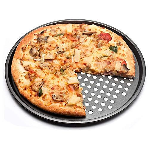 ZPF Perforiertes Pizzatablett, Antihaftbeschichtetes kupfergebackenes 12-Zoll-rundes Pizza-Knusper-Tablett, hitzebeständig, verwendet für Steak, Pizza, Obst, Brot, Ofen