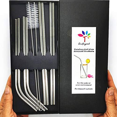 EINFAGOOD cannucce in acciaio inox, cannucce di metallo riutilizzabili, cannucce 8 pezzi con 2 spazzole di pulizia(grande confezione regalo)