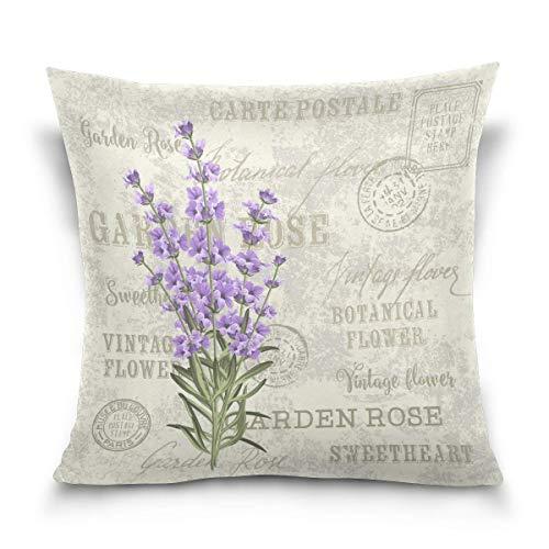 45x45cm Funda Throw Pillow Case Almohada Cojín Flor Lavanda Vintage Fundas colchón Cojines Decorativa Cuadrado sofá