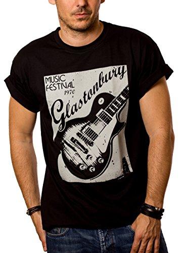 Camisetas de Grupos de Rock - Glastonbury Guitarra - Negro XXL