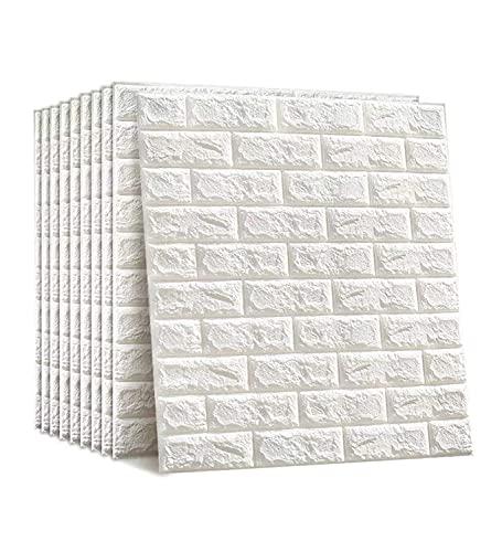 12 adesivi Carta da Parati Mattoni 3D Adesiva Muro di Mattoni Moderna Pannello Parete Decorativo Impermeabile DIY per Cucina, Bagno, Salone, Ufficio, TV Sfondo(77 cm x 70 cm x 3mm)(12ps, Bianco)