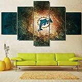CGHBDOP Wandbild 150Cmx80Cm Vlies Leinwand Bild XXL Format Wandbilder Wohnzimmer Deko Kunstdrucke 5 Teilig Miami Dolphins NFL Logo Sport
