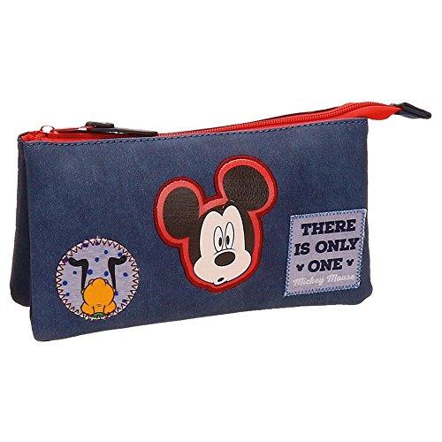 Disney Mickey Parches Beauty Case da viaggio, 22 cm, 1.32 liters, Blu (Azul)
