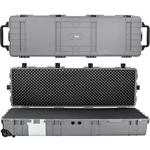 Eylar XXXL 57 Inch Heavy Transport Roller Rifle Hard Case with Foam, Mil-Spec, Waterproof & Crushproof, Auto-Pressure Valve with Lockable Fittings TSA Standards (Gray)