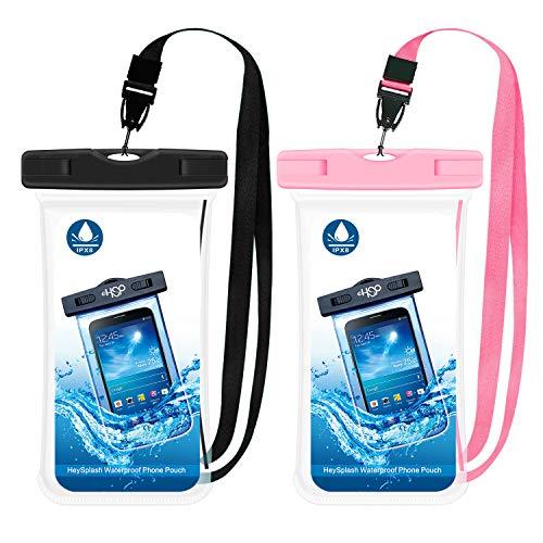 HeySplash [2 PZS Impermeable Funda para Teléfono Móvil, Bolsa Seca con Correa para iPhone 11, iPhone 11 Pro, iPhone 11 Pro MAX, iPhone X/XS/XR/XS MAX, Galaxy S10 S10, S10e - Negro + Rosa