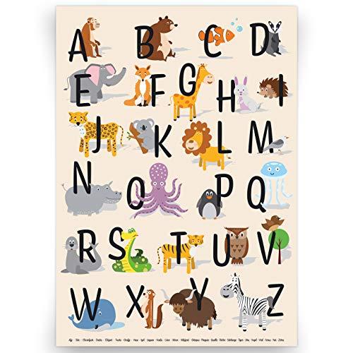 kizibi® ABC Poster DIN A2 für Kinderzimmer, Alphabet Poster für Mädchen und Jungen, Buchstaben zum Lernen, Tier Lernposter mit Buchstaben auf deutsch | für den Kindergarten, Vorschule oder Grundschule
