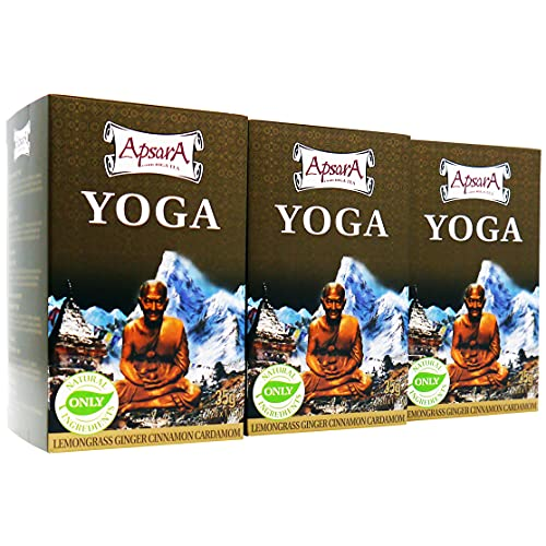 Thé Apsara Yoga, lot de 3 (60 sachets de thé), Tisane chauffante ayurvédique au gingembre, citronnelle, pommes séchées